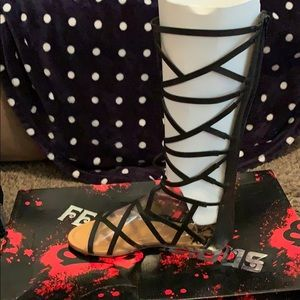 Strappy knee high sandals